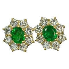 Cropp & Farr 18ct Gold Colombian Emerald 1.6ct Vs Diamond Stud Cluster Earrings