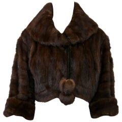 Cropped Mink Jacket with Velvet Ties
