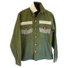Cropped Vintage Military Green Jacket Silver Bullion Fringes J Dauphin
