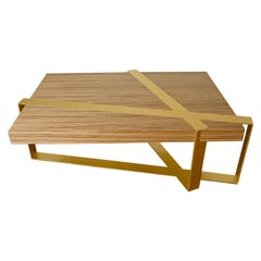 Crosby Coffee Table in Zebra Wood and Gold Leaf by Dean and Dahl