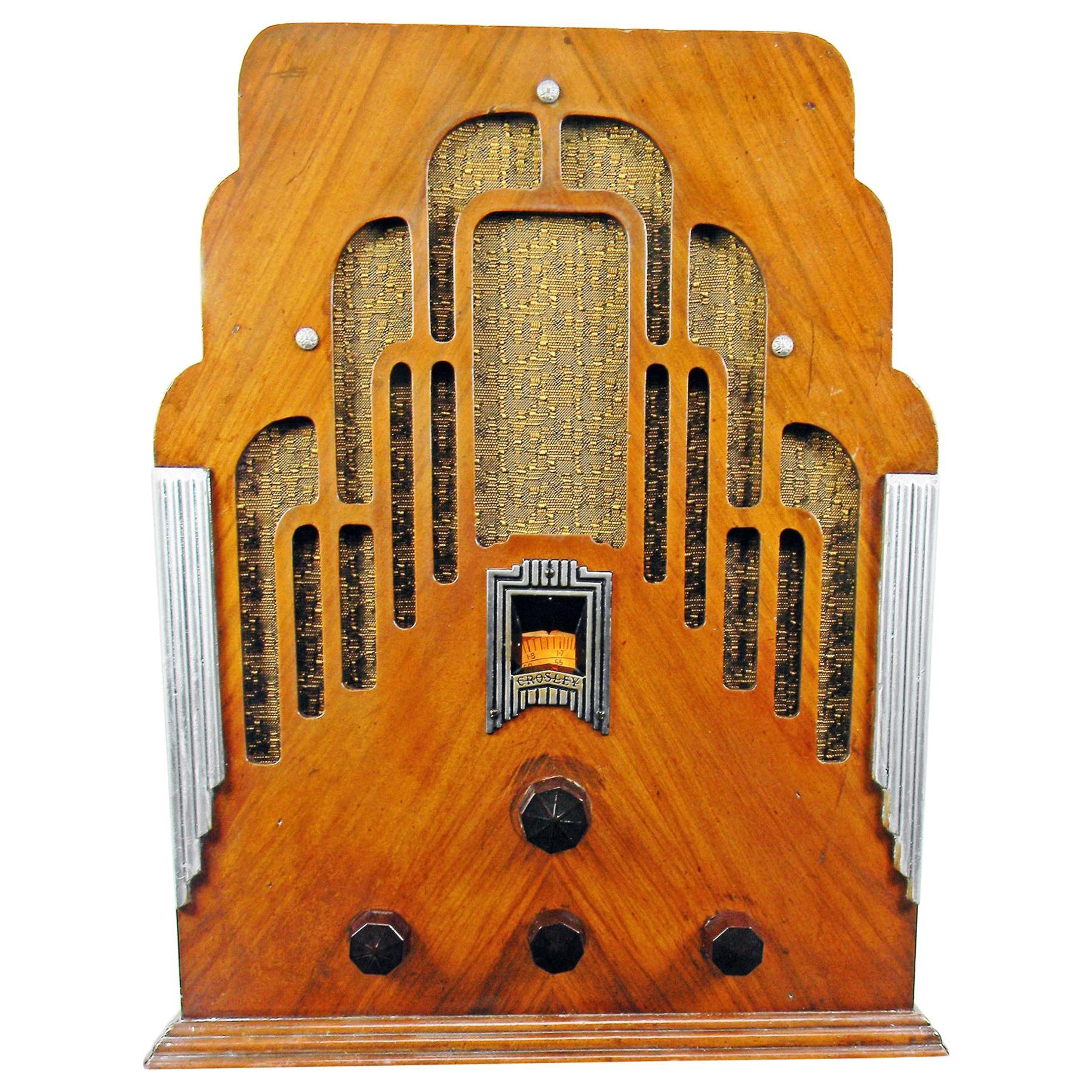 """Crosley Art Deco 179 """"Dual Four"""" Antique Tombstone '1934' Radio"""