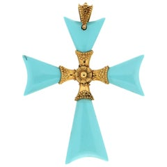 Cross 14 Karat Yellow Gold Turquoise Pendant Necklace