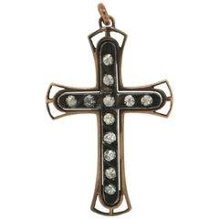 Cross 9 Karat Yellow Gold and Silver Diamonds Pendant