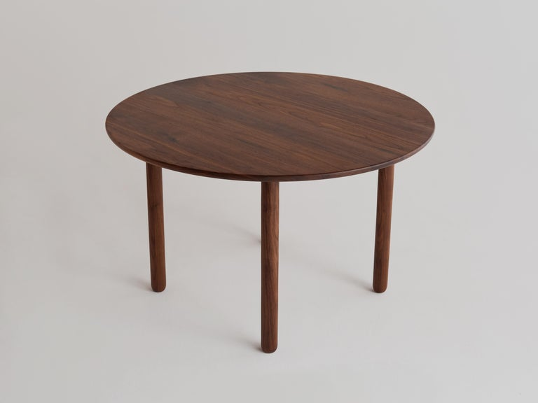 Modern Cross Bar Table by Campagna, Contemporary Minimal Round Wooden Dining Table For Sale