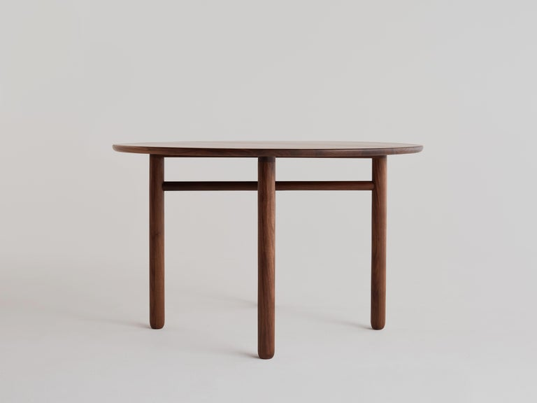 American Cross Bar Table by Campagna, Contemporary Minimal Round Wooden Dining Table For Sale