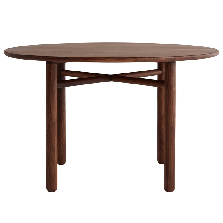 Cross Bar Table by Campagna, Contemporary Minimal Round Wooden Dining Table For Sale