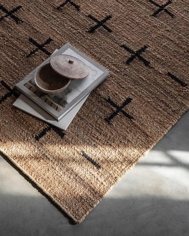 Indian 'Cross' Black Jute Style Rug in Scandinavian Design For Sale