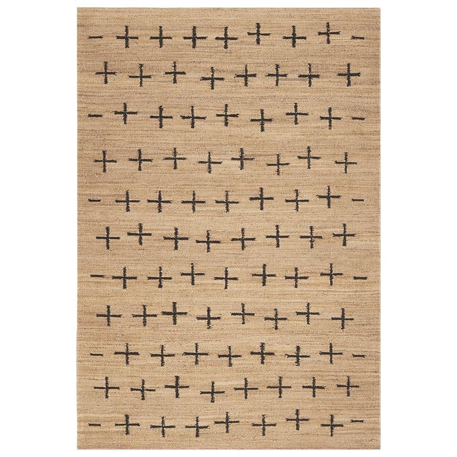 'Cross' Black Jute Style Rug in Scandinavian Design