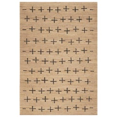 'Cross' Black Jute Style Rug in Scandinavian Design