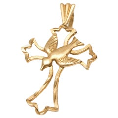 Cross Charm with Dove in 14 Karat Yellow Gold
