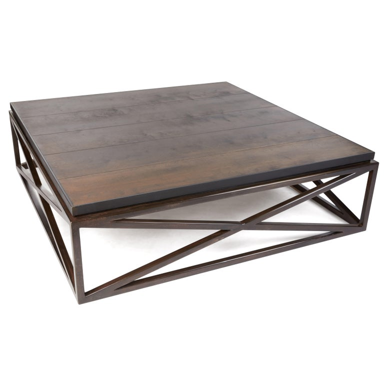 Steel Frame Maple Top Cross Coffee Table In New Condition For Sale In Dallas, TX