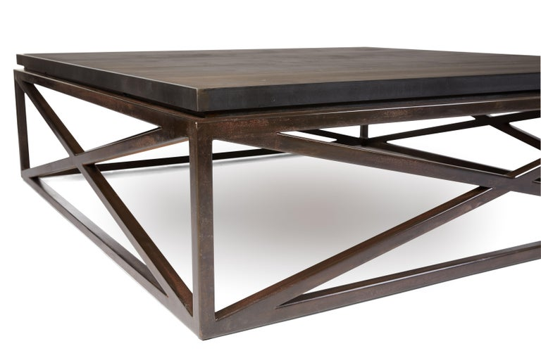 20th Century Steel Frame Maple Top Cross Coffee Table For Sale