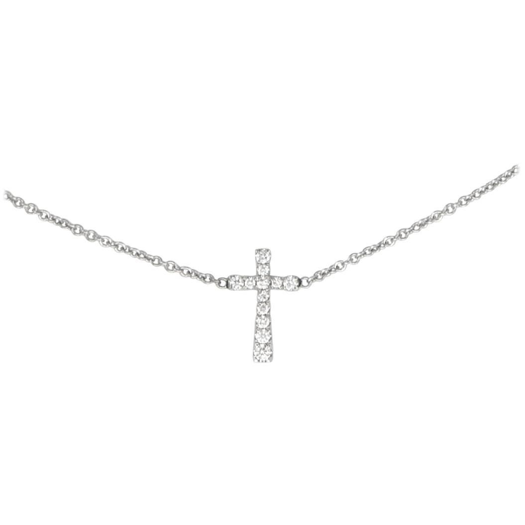 Diamond Cross 18 Karat White Gold Pendant Necklace