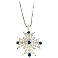 Cross Diamond 3 Carat and Blue Sapphire 4.07 Carat Pendant Necklace