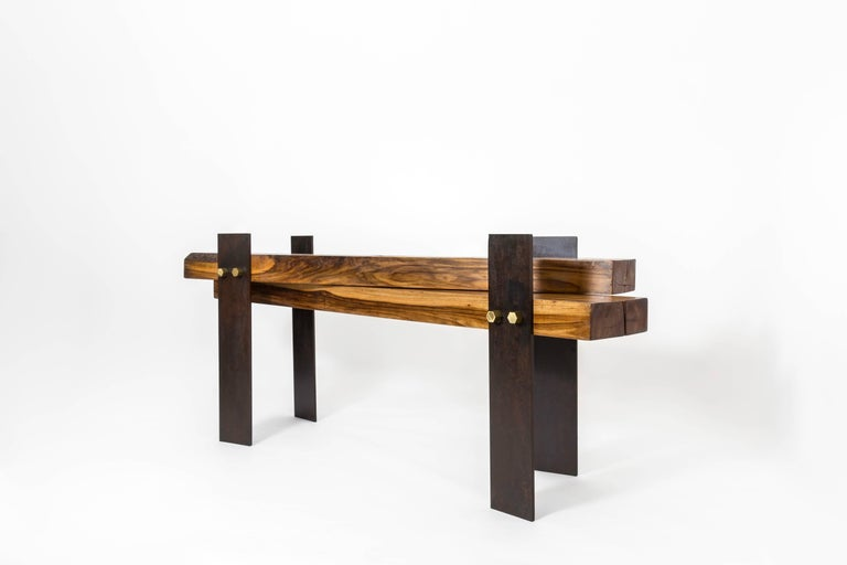 Organic Modern Cross Dining Table by Herbeh Wood, Capa Prieto, Black Steel with Brass Details For Sale