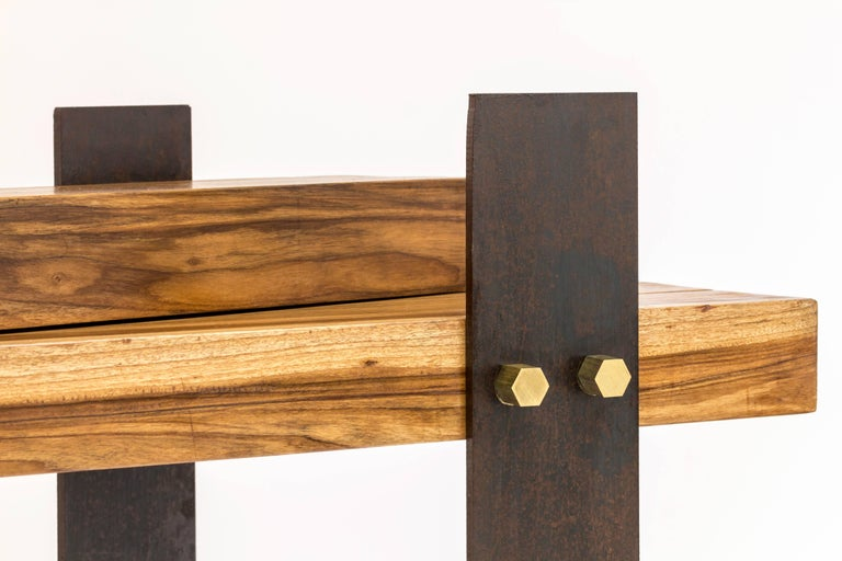 Puerto Rican Cross Dining Table by Herbeh Wood, Capa Prieto, Black Steel with Brass Details For Sale