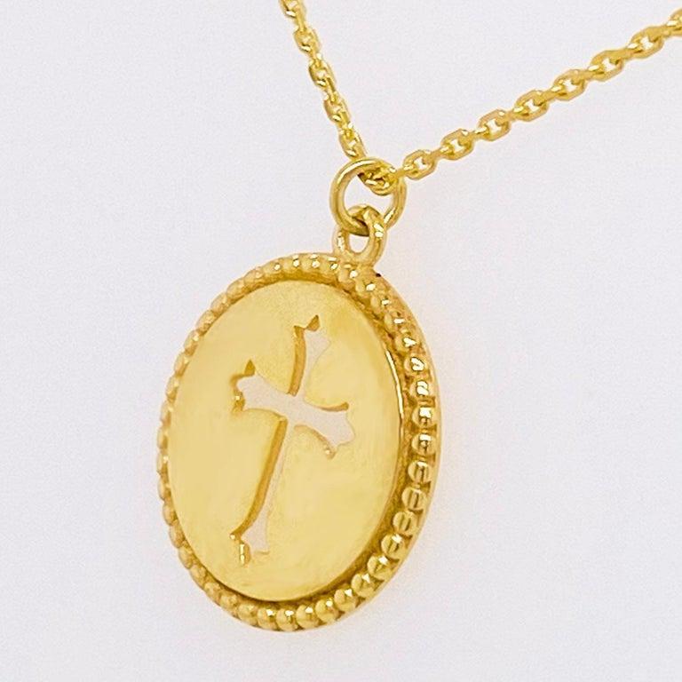 Modern Cross Disk Necklace, 14 Karat Yellow Gold Cross Coin Pendant, Religious Pendant For Sale
