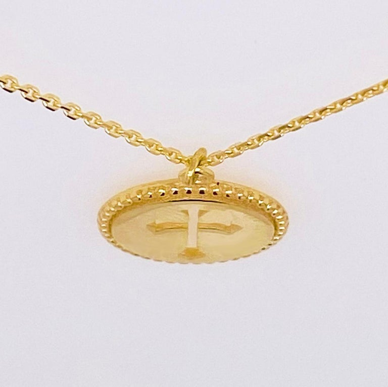 Cross Disk Necklace, 14 Karat Yellow Gold Cross Coin Pendant, Religious Pendant In New Condition For Sale In Austin, TX