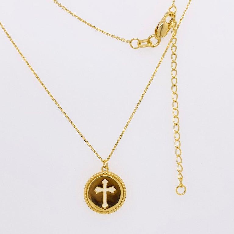 Women's Cross Disk Necklace, 14 Karat Yellow Gold Cross Coin Pendant, Religious Pendant For Sale
