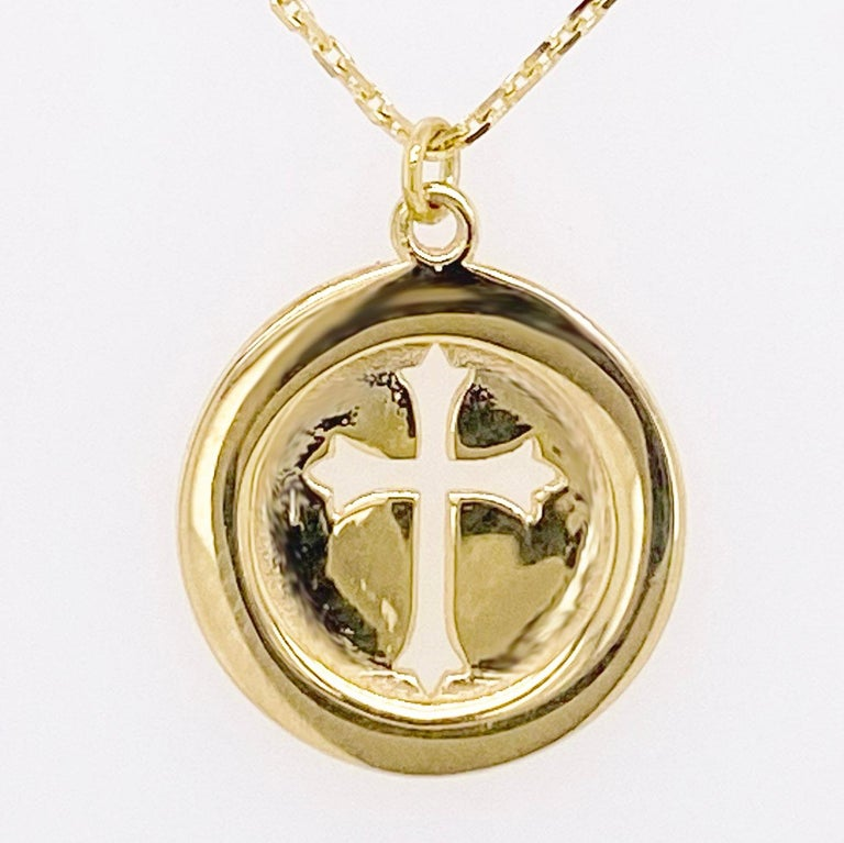 Cross Disk Necklace, 14 Karat Yellow Gold Cross Coin Pendant, Religious Pendant For Sale 1