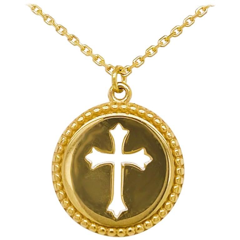 Cross Disk Necklace, 14 Karat Yellow Gold Cross Coin Pendant, Religious Pendant For Sale