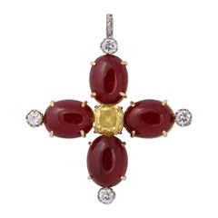 Man Made Cabochon Ruby Yellow Sapphire Gold And Sterling Cross Pendant