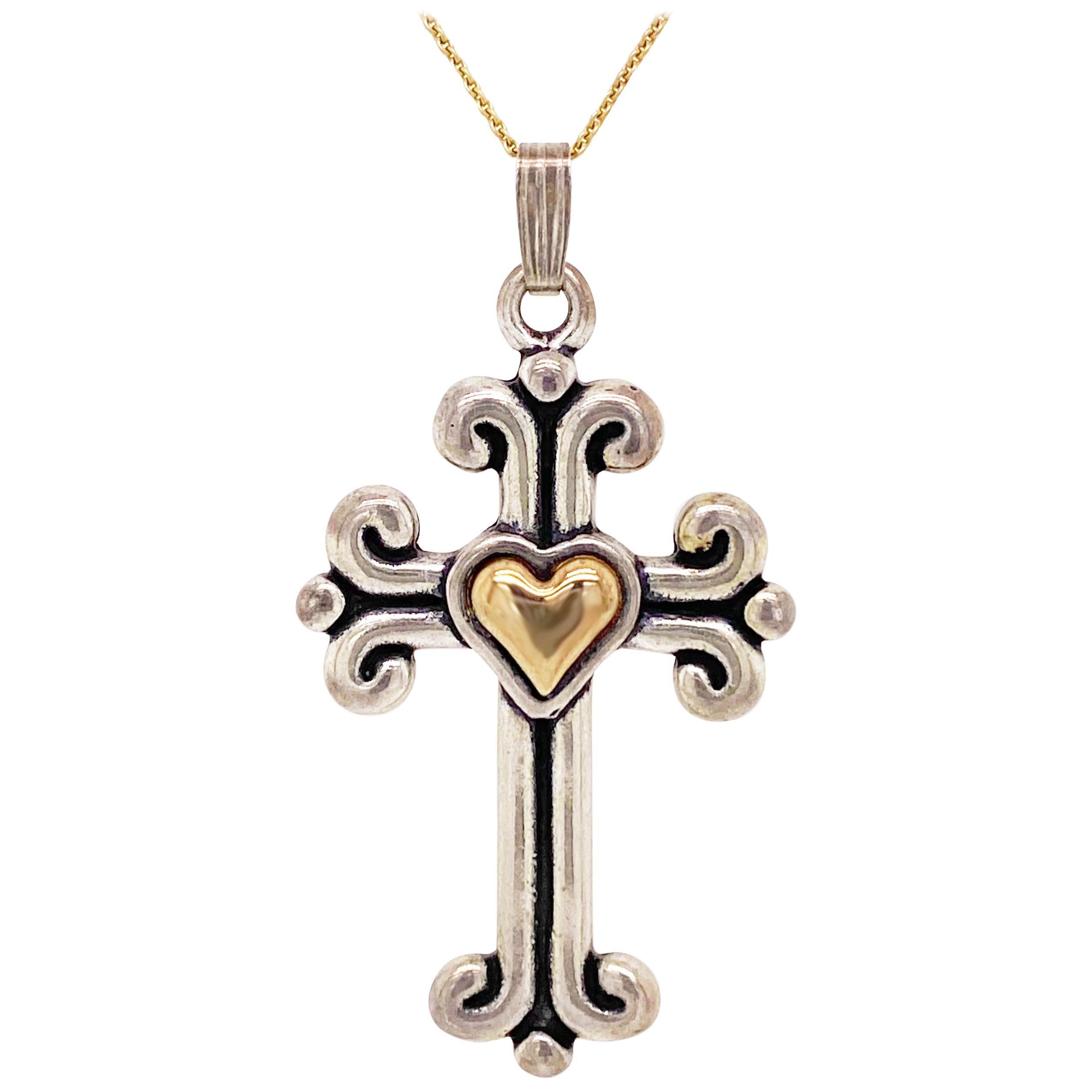 Cross Heart Necklace, 14 Karat Gold, Sterling Silver, Mixed Metal, Faith Love