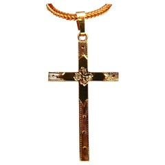 Cross Pendant 14 Karat Graver Etching Details No Chain