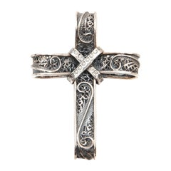 Cross Pendant Silver Cannetille and Filigree