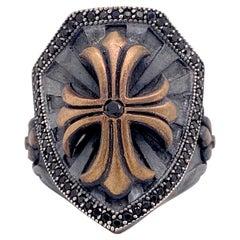 Cross Shield Ring, Mixed Metal Ruby and Black Onyx Ring