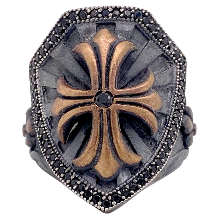 Cross Shield Ring, Mixed Metal Ruby and Black Onyx Ring For Sale
