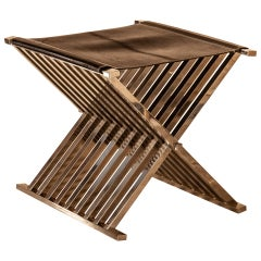 Cross Stool Nickel-Plated Solid Brass Frame and Leather Selezioni Domus Florence