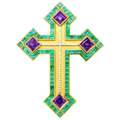Cross with Emeralds, Amethysts and Diamonds Set in 22 Karat and 18 Karat Gold