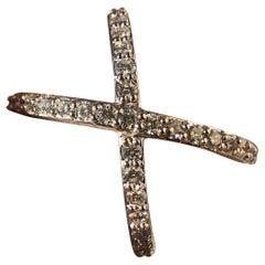 Cross X Diamond Wedding Eternity Band 0.91 Carat, 18 Karat W, Ben-Dannie