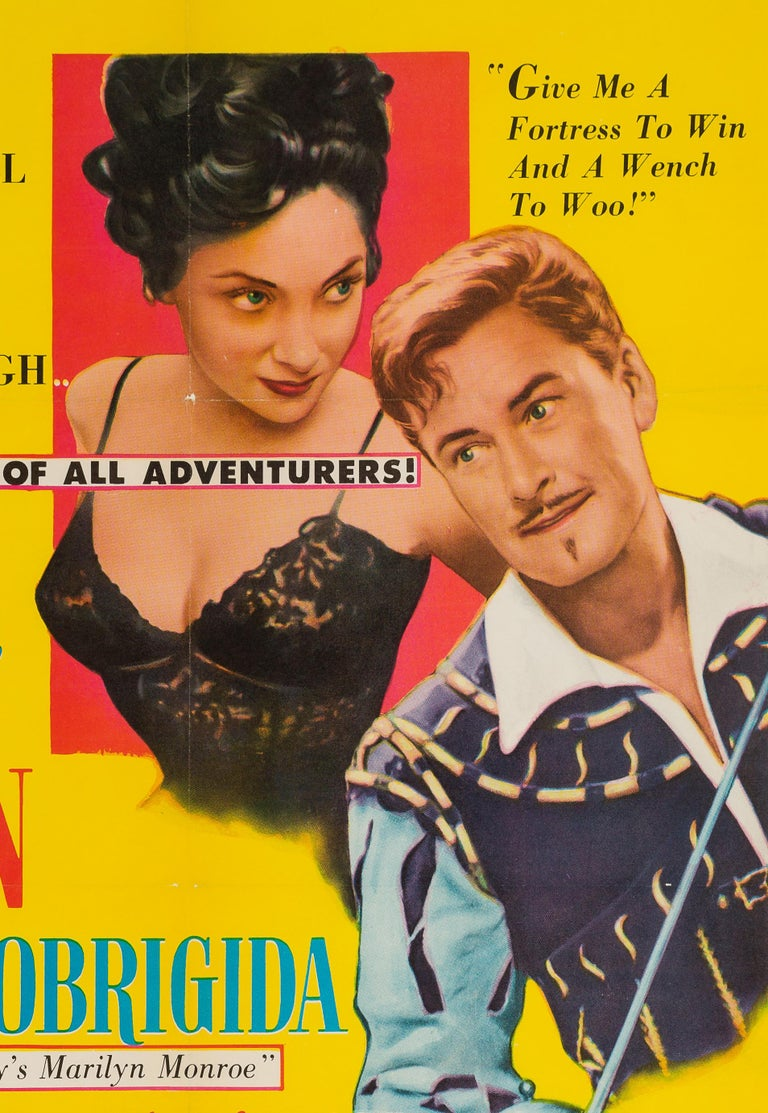 Super swashbuckling, bold and risqué artwork feature on this vintage US 1 Sheet for 50s film Crossed Swords. Starring Errol Flynn and