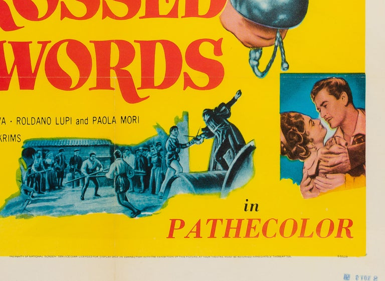 American Crossed Swords US 1 Sheet Original Film Poster, 1953 For Sale