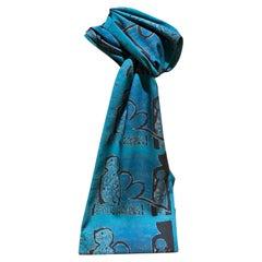 Crossing Over, scarf Melanie Yazzie Navajo wearable art new Teal black language
