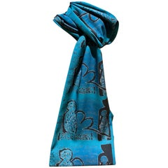Crossing Over, scarf Melanie Yazzie Navajo wearable art new Teal black language