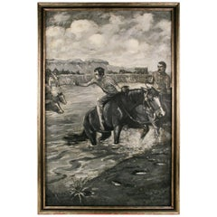 Western River Crossing Equestrian Painting by Clarence Rowe 1920
