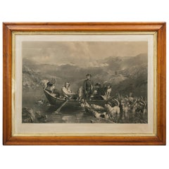 Crossing The Tay, Antique Otter Hunting Engraving, Southern Highlands