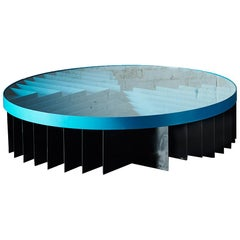 Crossroads Contemporary Coffee Table in Aluminum and Glass by Danielle Brustman