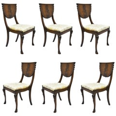 Crotch Mahogany Hoof Foot Regency Style Dining Chairs Klismos Saber Leg