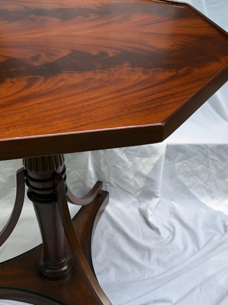 Crotch Mahogany Sheraton-Style Octagonal Table In Excellent Condition For Sale In Hudson, NY