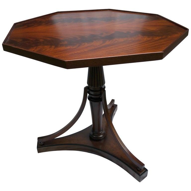 Crotch Mahogany Sheraton-Style Octagonal Table For Sale