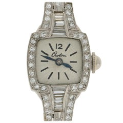 Croton Art Deco Diamond Ladies Watch 900 Platinum Mechanical 2Yr. Wnty 1.34ctw