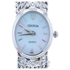 Croton Ladies Watch, 14k White Gold Quartz Mother of Pearl 1-Year Warranty