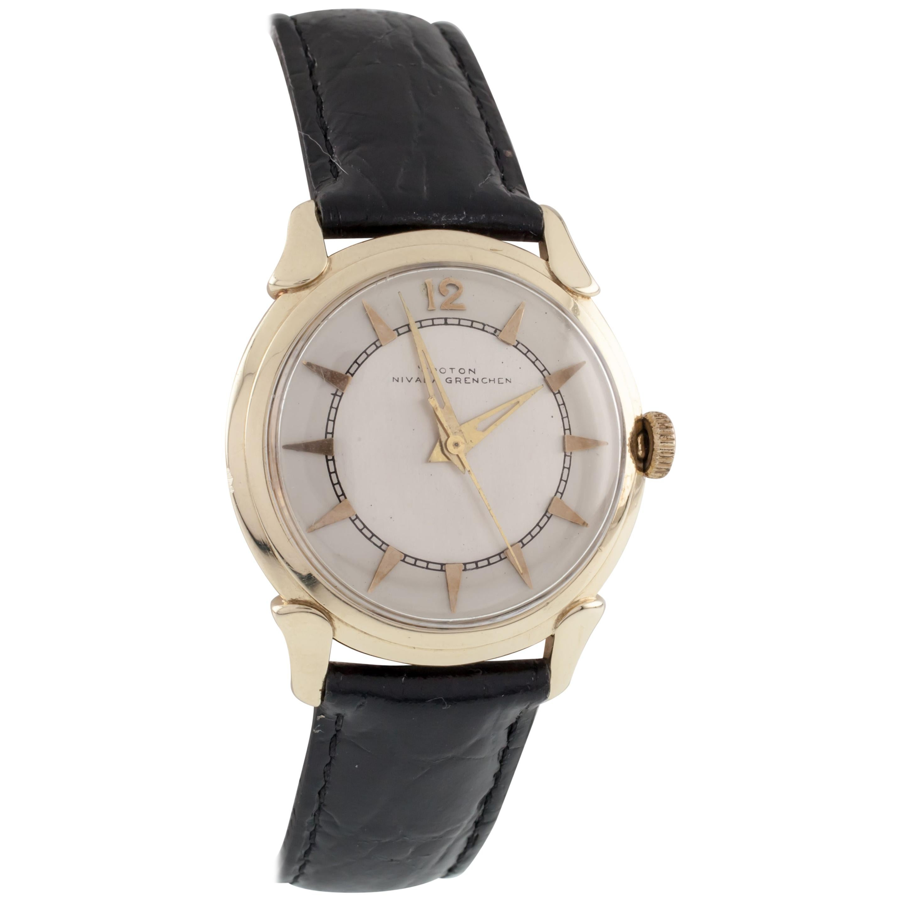 Croton Yellow Gold Nivada Grenchen Automatic Men's Watch with Leather Band