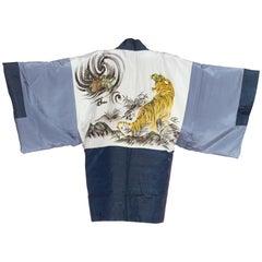 1950'S Crouching Tiger Hidden Dragon Hand Painted Japanese Kimono
