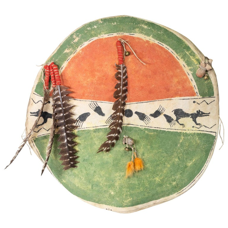 Crow Ceremonial Shield with Cover For Sale