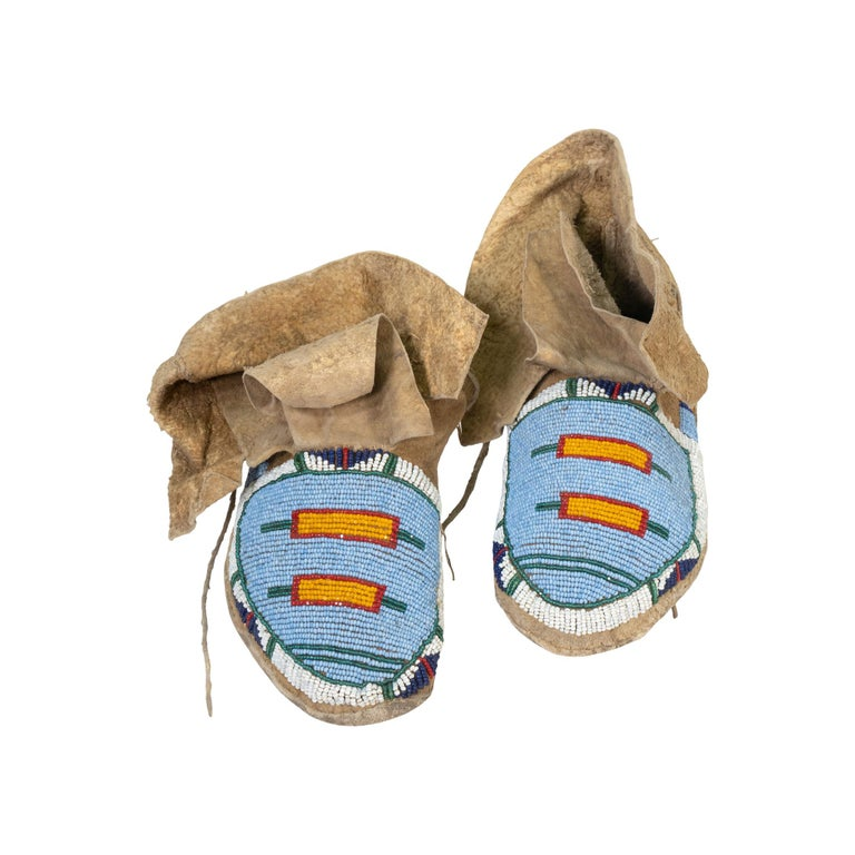 Native American Crow Youth Beaded Moccasins